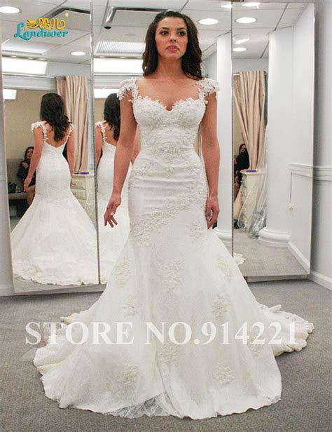 New Arrival Cap Sleeves Open Back Lace Mermaid Wedding