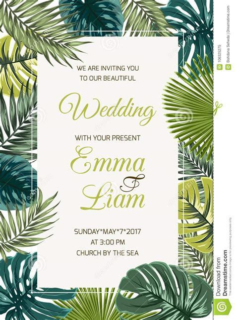 Wedding Invitation Card Template Tropical Leaves Stock