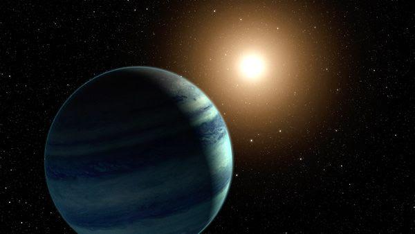 An artist's concept of an exoplanet orbiting a distant star.
