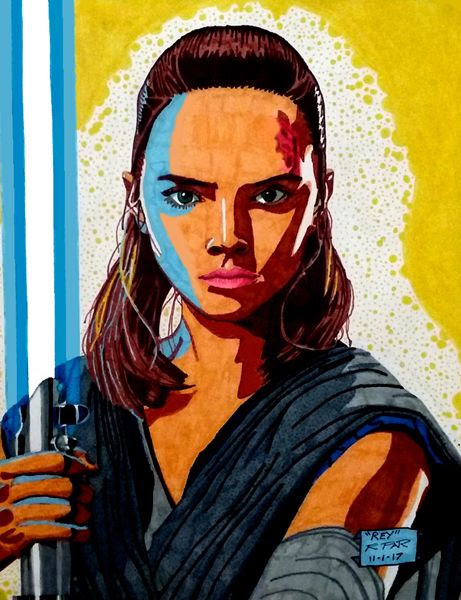 My drawing of Rey (Daisy Ridley) and her new look in STAR WARS: THE LAST JEDI.