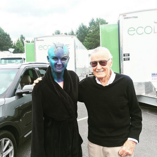 Stan Lee drops in on the set