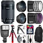 Canon 55-250mm IS STM -3 Lens Kit + Slave Flash + Tripod - 32GB Accessory Bundle