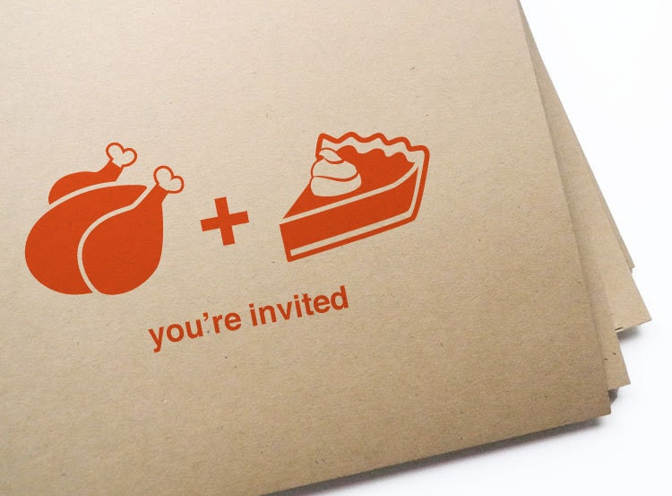 12 turkey & pie invites for Thanksgiving // free personalization and custom colors