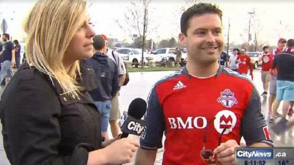 CityNews reporter Shauna Hunt confronts a man who shouted a vulgar phrase at her while she was broadcasting from Sunday's TFC game.