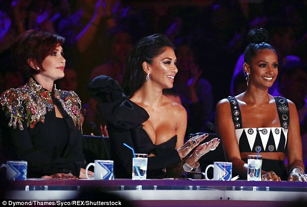 Busty display: Nicole Scherzinger's busty display stole the limelight from stand-in judge Alesha (right) and fellow panelist Sharon Osbourne (left) on Sunday night