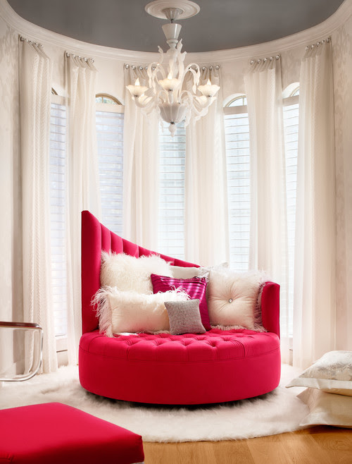 8 Beautiful Interior Design Photos, Hot Pink and White Living Room | Live Love in the Home