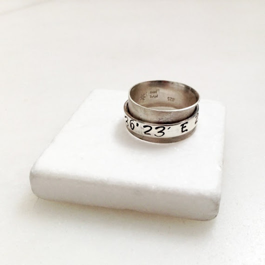 Spinner Ring Coordinates Sterling Silver Wide by SunSanJewelry