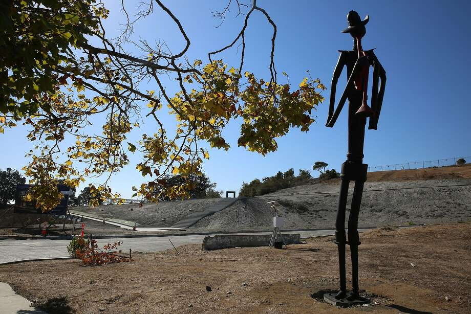 Bayview Horn  by Jerry Ross Barrish is a fifteen-foot-tall figure of a lone musician playing a horn next to The Store House at the shipyard  in San Francisco, Calif., on Friday, October 2, 2015. Photo: Liz Hafalia, The Chronicle