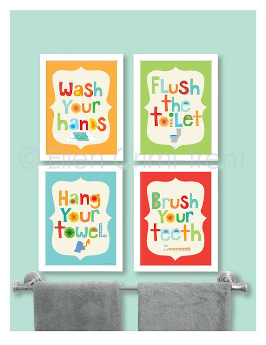 Kids Bathroom Decor Kids bathroom art PRINT SET | Etsy