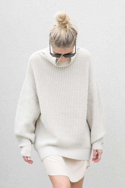 Le Fashion Blog Top Knot Wayfarer Sunglasses Chunky Turtleneck Sweater Blush Slip Dress Via FIGTNY