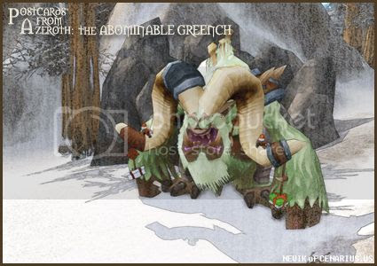Rioriel and Nevik's daily World of Warcraft screenshot presentation of significant locations, players, memorable characters and events, assembled in the style of a series of collectible postcards. -- Postcards of Azeroth: The Abominable Greench