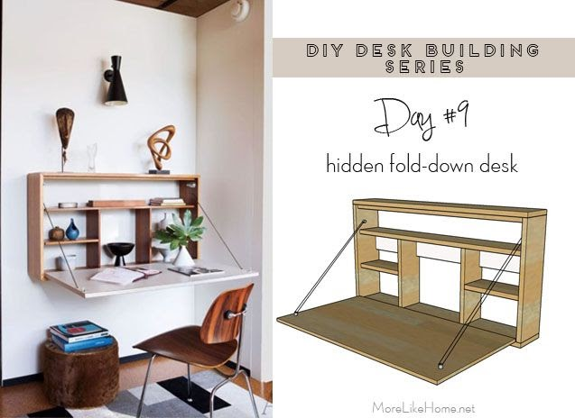 More Like Home: DIY Desk Series #9 - Fold-down Wall Desk