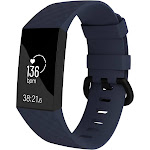 Fitbit Charge 3 Bands, by Zodaca Replacement Band Silicon Wristband Watch Straps for Fitbit Charge 3 Fitness Activity Tracker - Dark Blue Size Small