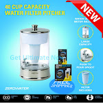 ZeroWater 40 Cup Ready-Pour Glass Dispenser with Water Quality Meter 3 Packs
