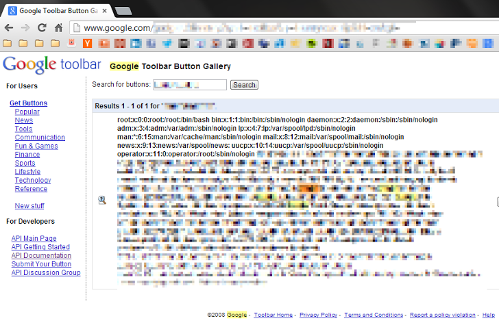 XML Google Toolbar flaw