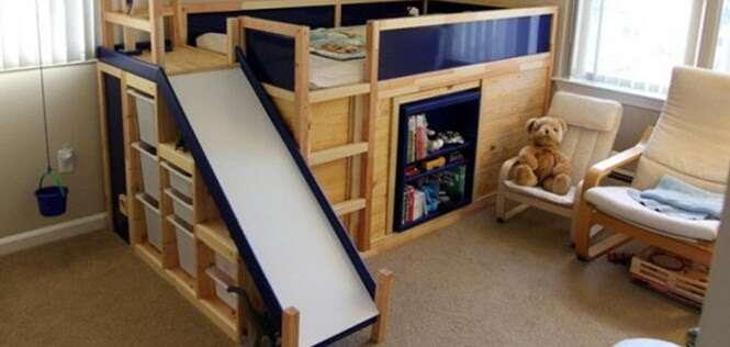 Pai constrói cama incrível para filho que esconde sala secreta e enorme diversão