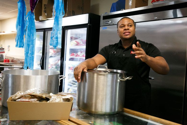 Spencer Lindsay, founder and creator of Mr. Maurs, talks about his business inside of a Peruvian store and restaurant in Shoreline. Lindsay creates his sauces inside the store and sells them on Amazon.  (Erika Schultz/The Seattle Times)