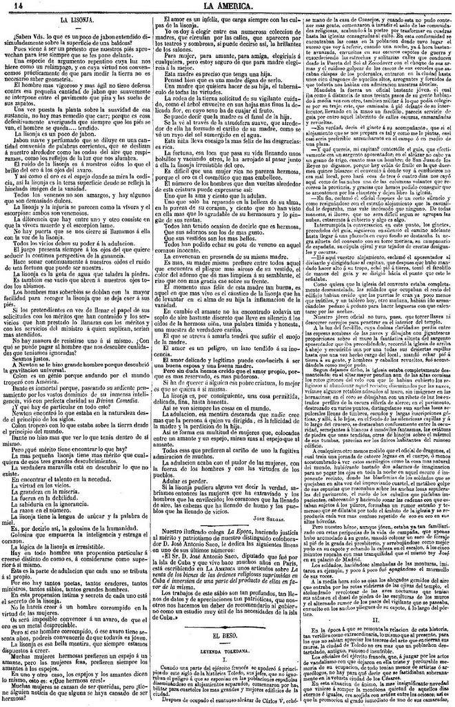 Leyenda de El Beso de Gustavo Adolfo Bécquer publicada en La América el 27 de julio de 1863. Página 1