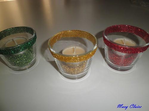 candeline su bicchierini con perline finiti