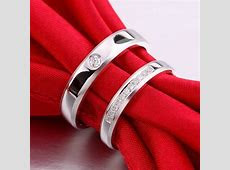 Inexpensive Matching Couples Diamond Wedding Ring Bands on Silver   JeenJewels
