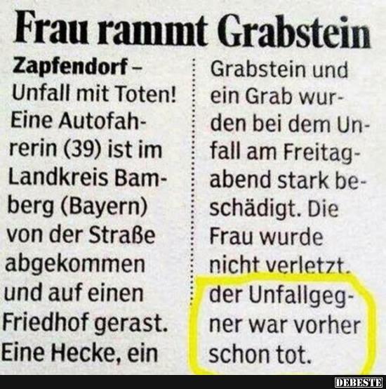 Frau Rammt Grabstein Lustige Bilder Sprüche Witze Echt Lustig