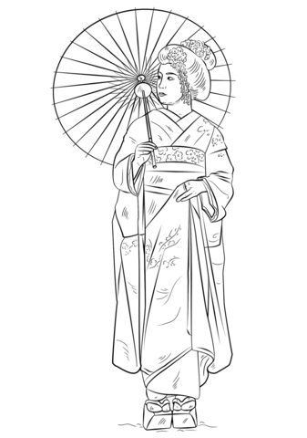 Coloriage Fille Japonaise En Costume Traditionnel Coloriages à