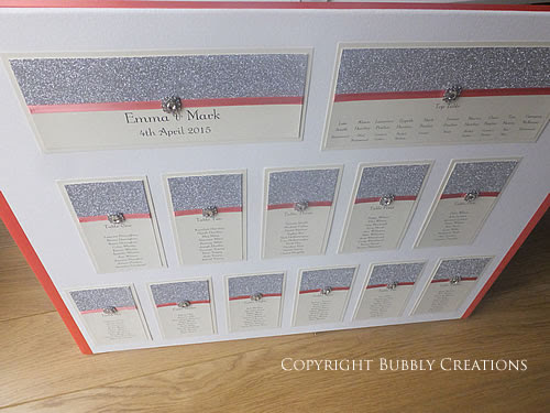 Glitter Wedding Invitations and Stationery - Sparkly Silver Glitter and Coral