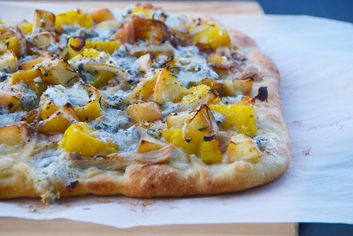 Thanksgiving Leftovers Pizza or Butternut Squash, Turkey and Apple Pizza with Blue Cheese