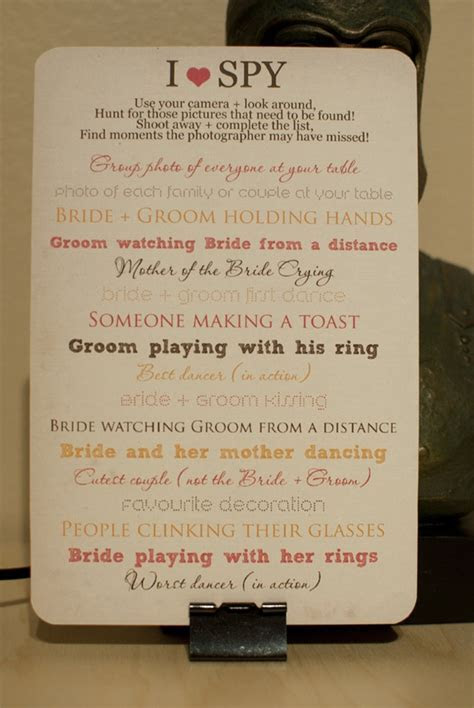Wedding idea: I spy game for guests   Articles   Easy Weddings