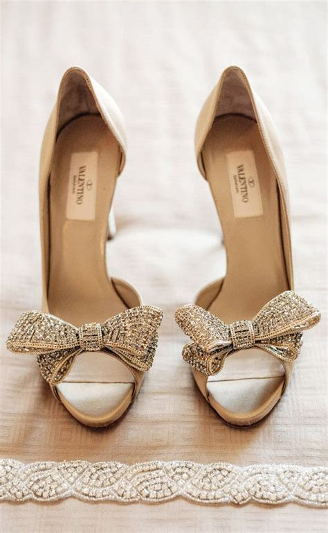 Valentino Gold Bow Tie Peep Toe Bridal Shoes   Wedding