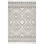 nuLOOM Boho Soft and Plush Geometric Moroccan Shag Tassel Area Rug Ivory 4' x 6' 4' x 6' Indoor Living Room, Bedroom, Dining Room