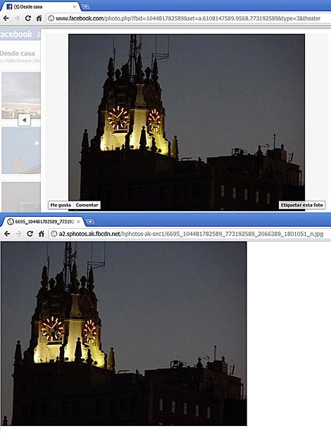 Arriba, captura de pantalla de una foto en un álbum privado en Facebook; Abajo, la misma imagen descargada directamente del servidor contratado por la red social.