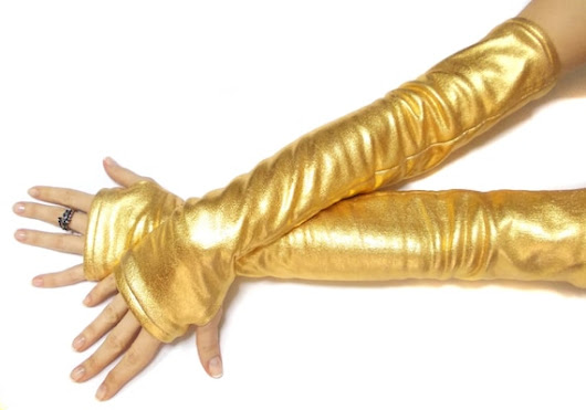 Golden fingerless long gloves costume dance gloves belly | Etsy