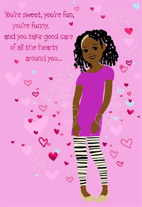 Girl With Hearts Valentine's Day Card for Young Girl