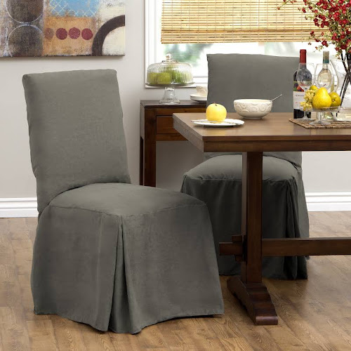 Tailor Fit Relaxed Smooth Suede Tall Dining Chair Slipcover Set Of 2 Gray Room Grey