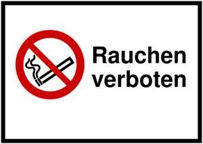 Schild selbst drucken: Rauchen verboten