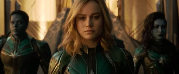 Donning a green Kree military suit, Carol Danvers gets ready for a mission with her Starforce teammates (which includes Minn-Erva, played by Gemma Chan) in CAPTAIN MARVEL.