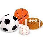 Melissa & Doug Sports Throw Pillows With Mesh Storage Bag - Plush Basketball, Baseball, Soccer Ball, and Football