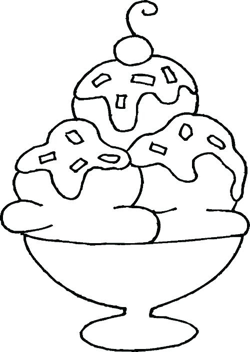 Ice Cream Easy Coloring Pages For Kids - Drawing With Crayons