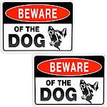"2 Pack Beware of Dog Aluminum Durable Sign 10"" x 7"" for Indoor and Outdoor Garden"