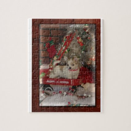 Christmas Chihuahua Cute Puppy In Wagon Puzzle