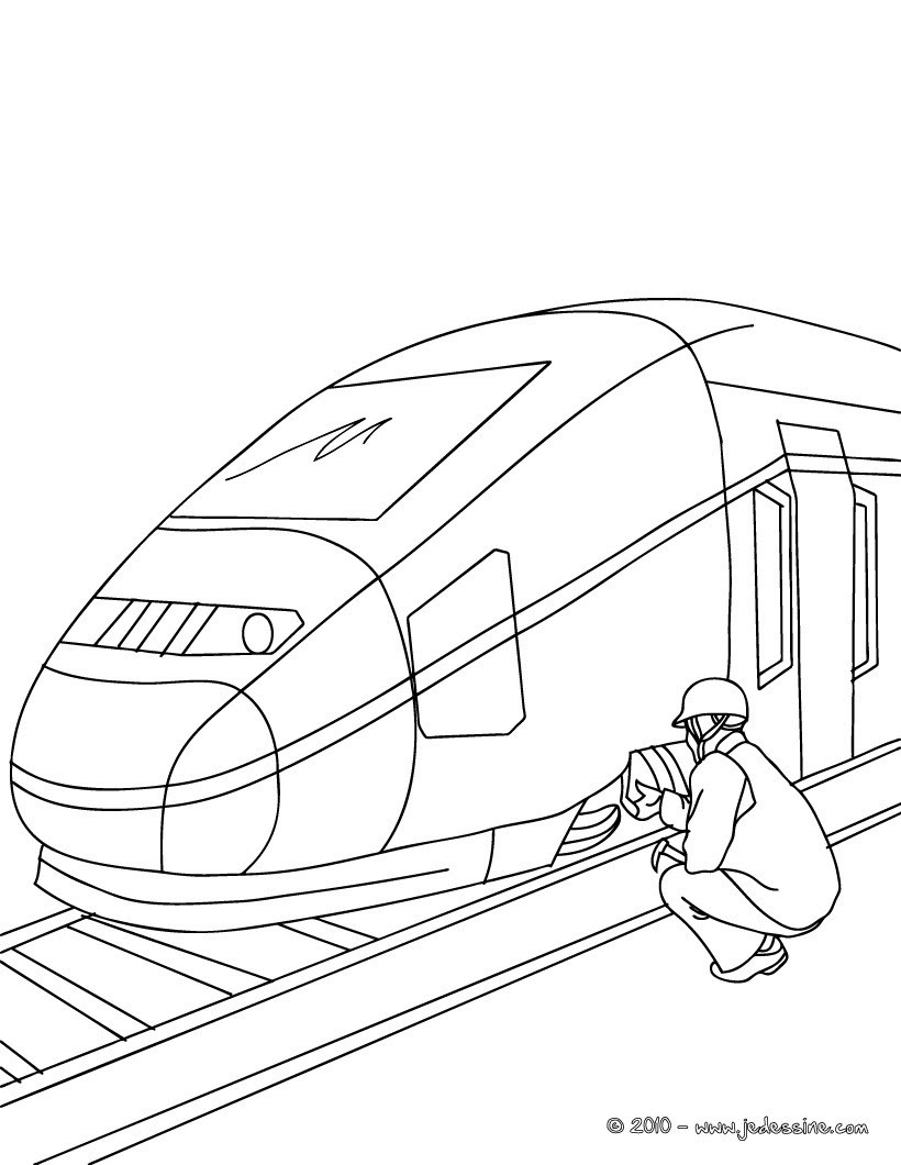 Mécanicien de train  colorier