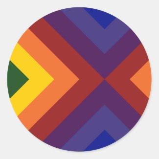 Rainbow Chevrons Round Sticker