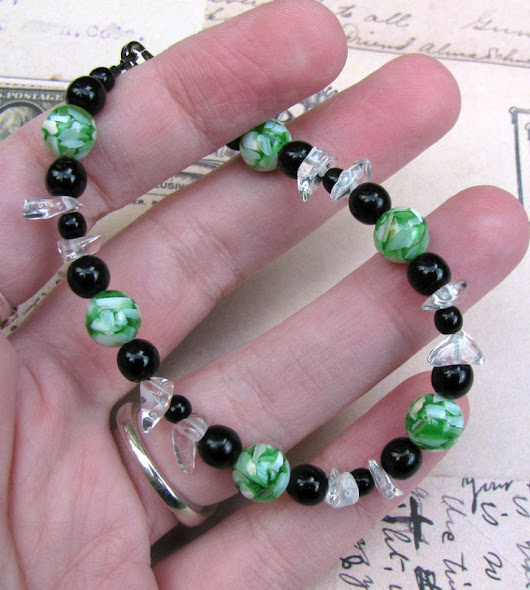 Green and Black Mosaic Shell Bracelet