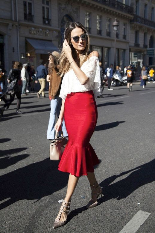 Le Fashion Blog Street Style Date Night Style White Off The Shoulder Lace Top Red Body Con Skirt With A Flared Hem Mini Nude Bag Valentino Rockstud Heels Via The Outfit