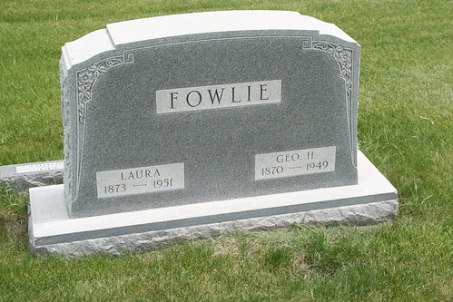 Tombstone of George H. and Laura Fowlie