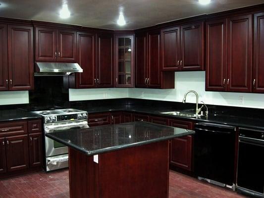 Slab Granite Countertops Black Granite Cherry Cabinets Kitchen