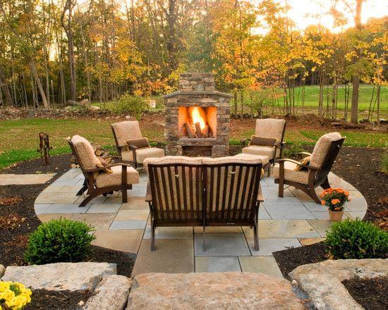 Backyard patio and fireplace ideas