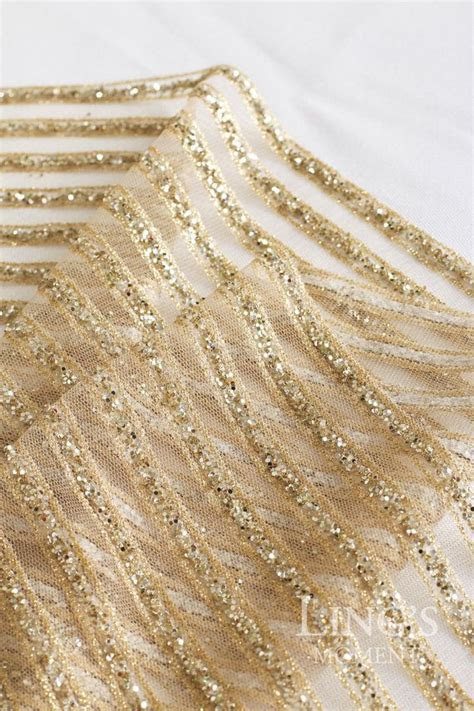 Striped Sparkly Glitter Champagne Gold Table Runner