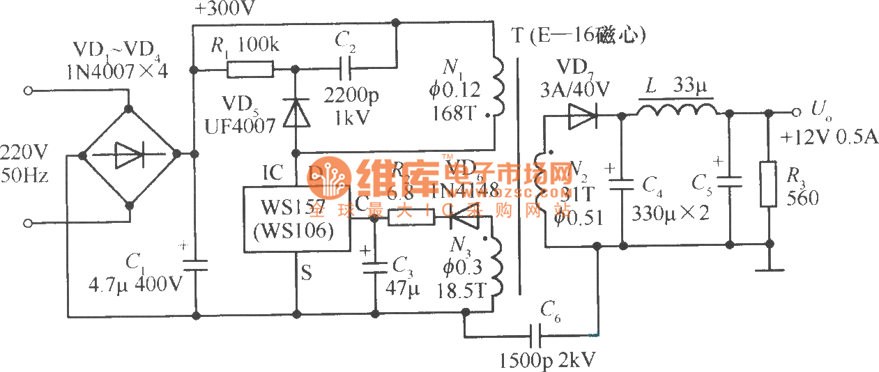 12v 0 5a Single Chip Switching Power Supply Circuit Power Supply Circuit Circuit Diagram Seekic Com